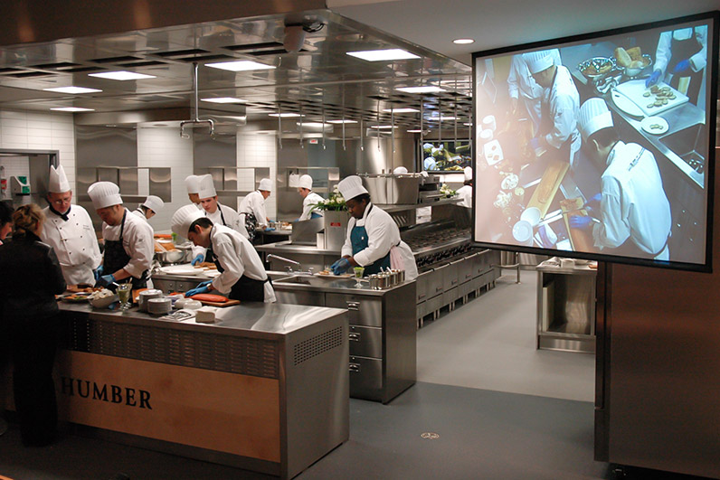 Kitchen with video screens